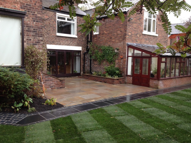 Natural sandstone patio with natural limestone garden path
