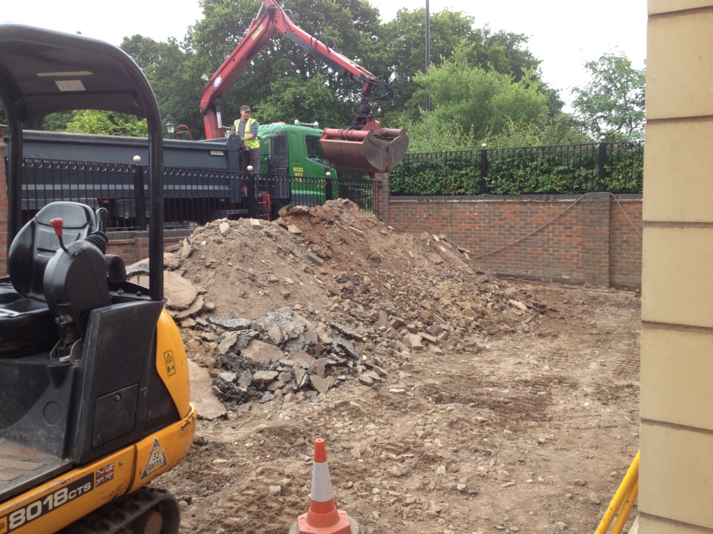 Excavated material taken away to be recycled