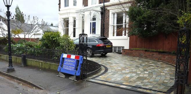 Natural stone sett driveway Liverpool