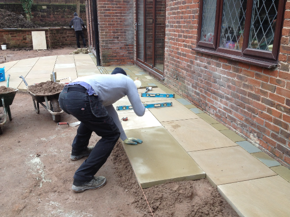 How to lay York stone paving.