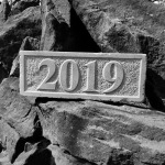 Hand carved date stone in UK Yorkstone