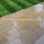 Yorkstone patio and new lawn